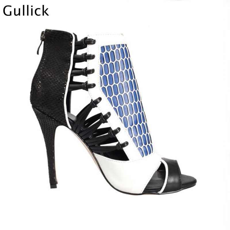Neue Mode Leder Gemischt Farben Caged Sommer Booties Sandale Dünne High Heels Cut-Out Gladiator Frau Party Kleid Schuh große Größe
