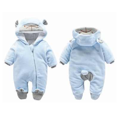 Одна часть ребенка комбинезон зимние теплые хлопковые для новорожденных одежда одна сторона с молнией детские халаты для маленьких мальчиков Одежда для девочек