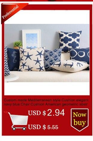 Custom Made Mediterranean Style Cushion Elegant Navy Blue Chair Cushion  American Geometric Abstract Cushions For Sofas