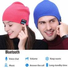 Стильная Шапка-бини, беспроводные Bluetooth наушники, умная гарнитура с микрофоном, зимняя уличная спортивная стерео музыкальная шапка 18Nov28