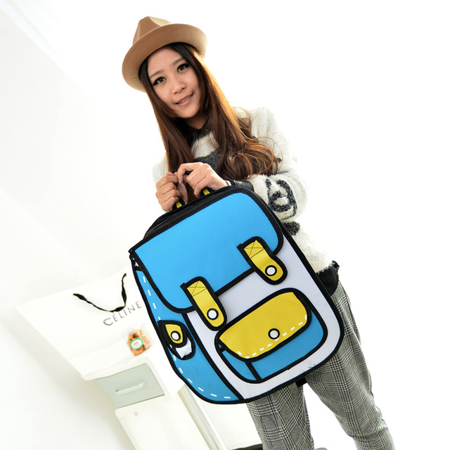 3D Jump Style 2D Drawing From Cartoon Paper Bag Comic 3D Backpack  Bag for School Girls