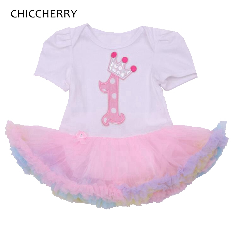 Pink Crown Princess 1 Year Birthday Baby Girl Dress One Piece Baby Lace Romper Dress Vestido De Bebe Menina Summer Clothes