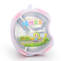 Creative Apple Shape Cute Cartoon 304 Stainless Steel Bento Lunch Box For School Kid Gift Portable