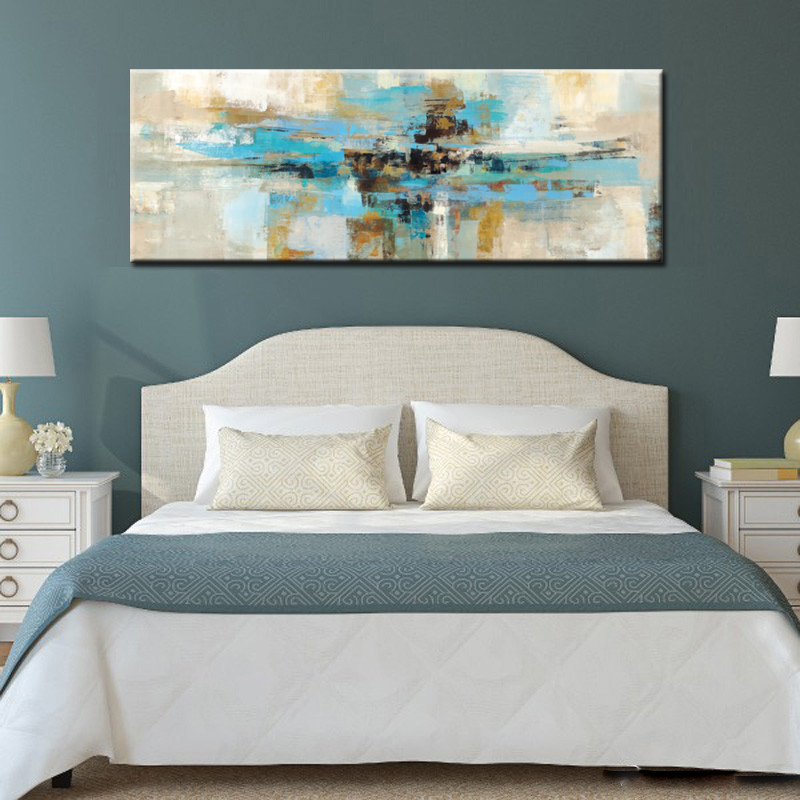 Modern Abstract Oil Painting Light Blue Canvas Painting Print Poster Wall Painting Art For Bedroom Living Room Home Decoration