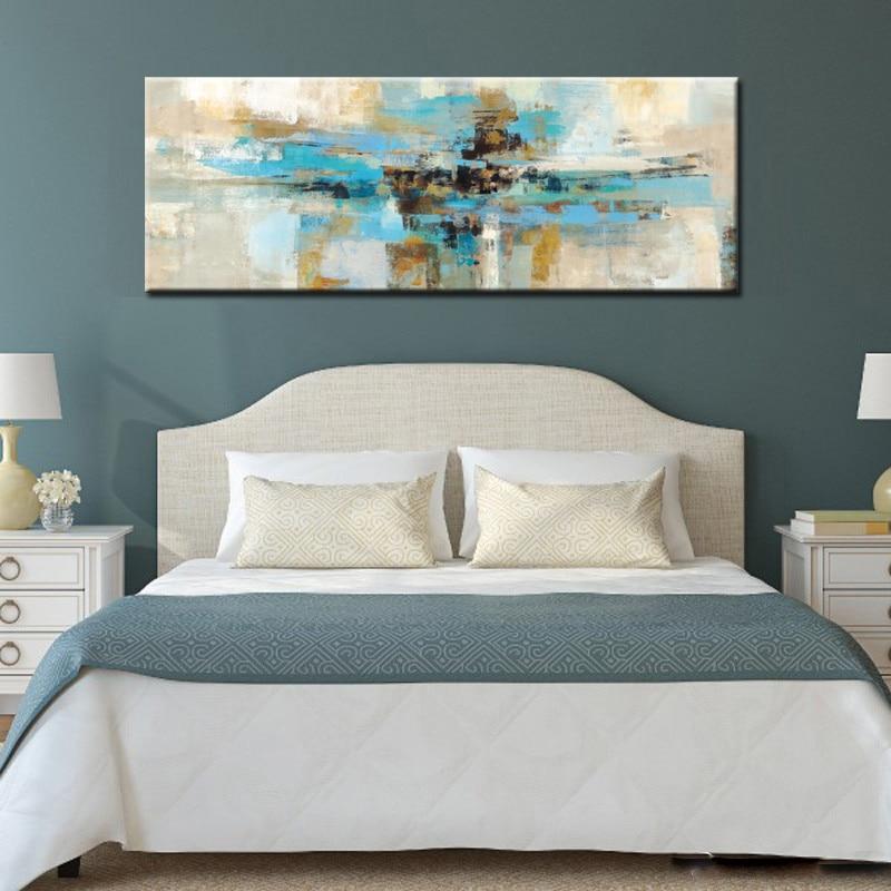 Moderne Abstrakte Olgemalde Hellblau Leinwand Malerei Print Poster