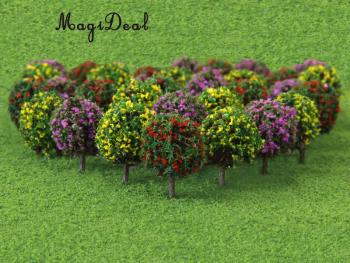 MagiDeal 30Pcs/Lot Mixed 3 Colors Flower Model Train Trees Ball Shaped Scenery Landscape 1/100 Scale for Railway Road Kids Toy - discount item  58% OFF Building & Construction Toys