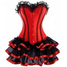 2018 Women Burlesque Dancer Dress Witch Halloween Sexy Underbust Bustier Corset Mini skirt Gothic Corset Dress With Skirt 6XL