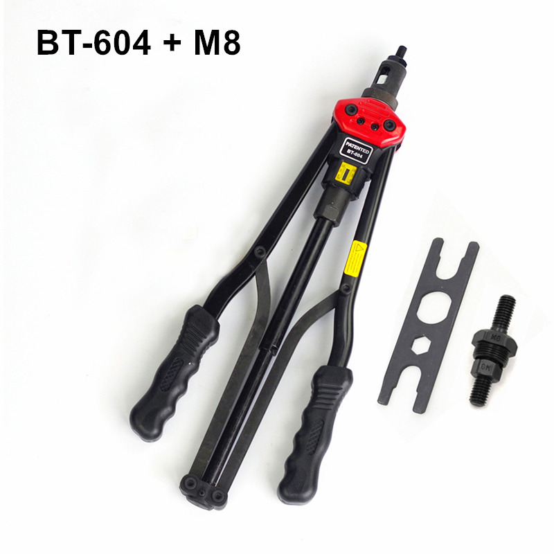 high quality 440mm 17 inch hand riveter pull rivet nut riveting tools with one die of M8 free shipping BT-604 auto remove nut 1pcs ergonomic hand squeeze pop rivet gun tool riveter poprivet