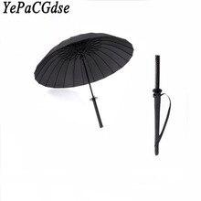 Creative fashion black Japanese ninja warrior umbrella semi-automatic long handle 8 bone 16 24