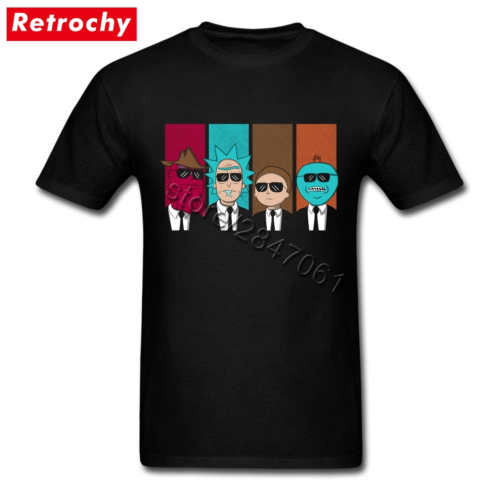 2017 Fashion Brand Rickservoir Dogs Rick and Morty Tee Homme Black Short Sleeves Tshirt Men Large and Tall Size Merchandise