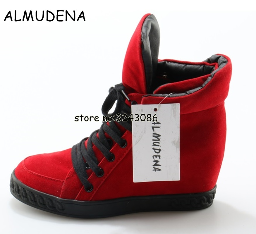 Top Quality Suede Tie Up Woman Height Increasing Casual Shoes Rome Designed Hidden Wedge Ankle Boots High Platform Shoes
