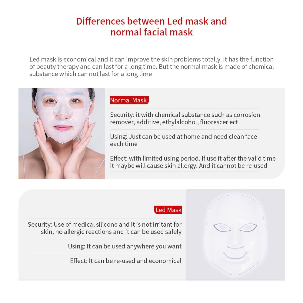 Foreverlily LED máscara Facial terapia 7 colores cara máscara de fotones de terapia de luz de cuidado de la piel arruga eliminación de acné belleza de rostro. - 5