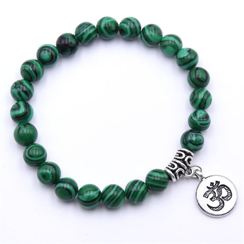 Natural Stone Strand Bracelet Yoga Chakra Mala Bracelet OM Lotus Women Men Beaded Charm Bracelet Jewelry Pulseras dropshipping - Окраска металла: ZT110-10