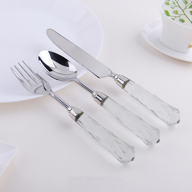 Imitated Crystal Handle Cutlery Set Full Set Tabelware Dinner Knife Fork Soup Scoop Stainless Steel Dinnerware  sc 1 st  AliExpress.com & Imitated Crystal Handle Cutlery Set Full Set Tabelware Dinner Knife ...