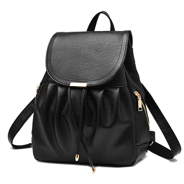 Women Backpack Light Weight PU Leather School Bags for Teenagers Girls Female Backpack Sac a dos Black