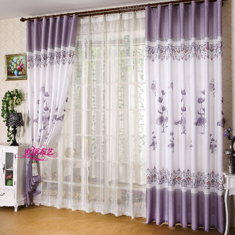 Good New Modern White Semi Shade Purple Lotus Curtain Custom Printing Curtains  For Bedroom Free Shipping ...