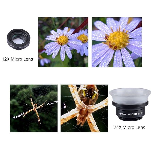 APEXEL  New 2in 1 macro lens 12x/ 24x super macro lens detechable universal clip lens for Xiaomi ios android all smartphone 24XM 3