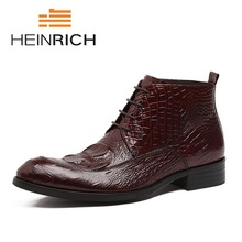 HEINRICH Boots Men Crocodile Pattern Winter Shoes New Comfort MenS Lace-Up Warm Genuine Leather