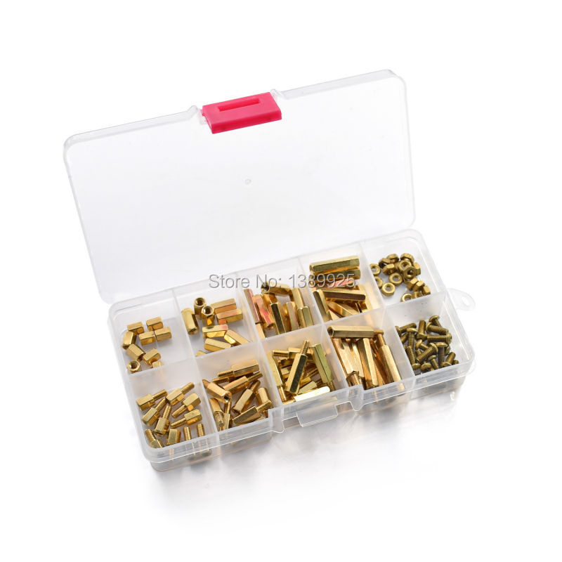 Free Shipping 120Pcs M2.5 Series Hex Brass Spacer/Standoff+Nuts+Screws With Storage Case Accessories Kit