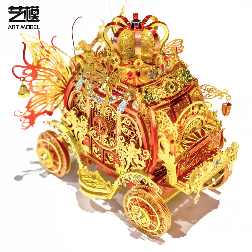 MU 3D Metal Puzzle Red Rincess Carriage model DIY 3D Laser Cut Assemble Jigsaw Toys with