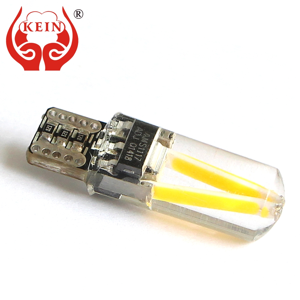 KEIN 10PCS Canbus led car T10 w5w 194 lights silicone COB Side Marker Interior Bulb Reading Dome Tail Lamp DRL for peugeot 12V car led 1pcs t10 194 w5w dc 12v canbus 6smd 5050 silicone shell led lights bulb no error led parking fog light auto car styling