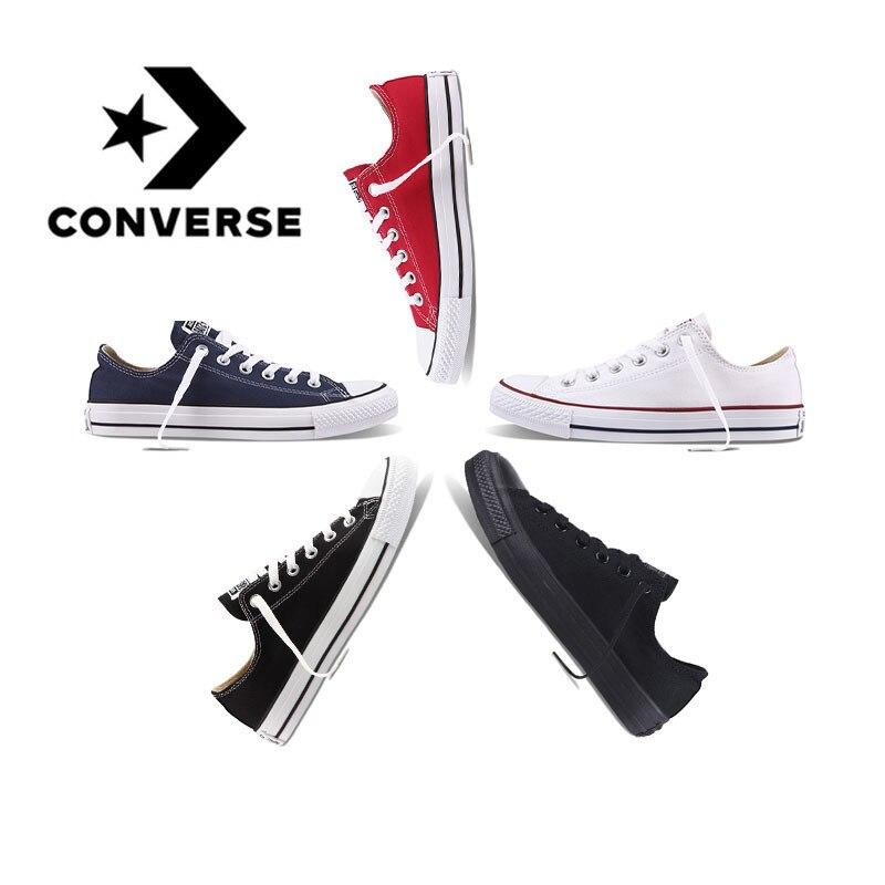 Autêntico e Original Converse ALL STAR baixo para ajudar sapatas de lona clássicas sapatos de skate unisex não-deslizamento de tênis adequado para jovens as pessoas