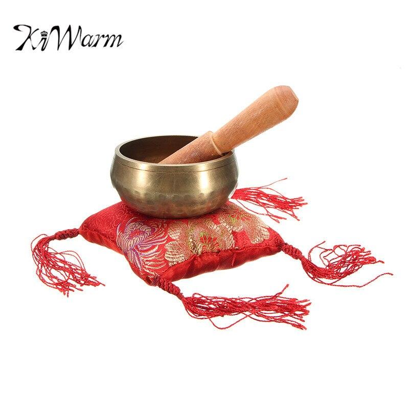 KiWarm Cinese Mano Martellato Singing Bowl + Legno Sticker + Mat Per Chakra Tibetana di Preghiera Meditazione Yoga Ornamento