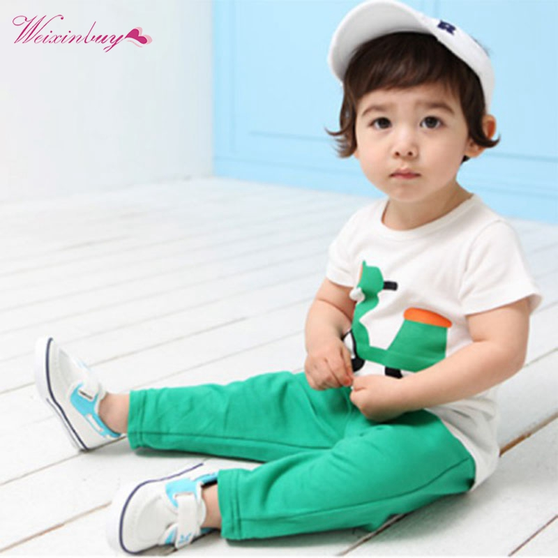 Kids Baby Children Sets Clothing Printed Motor T-Shirt Tops+Long Pants Outfits Casual Suits