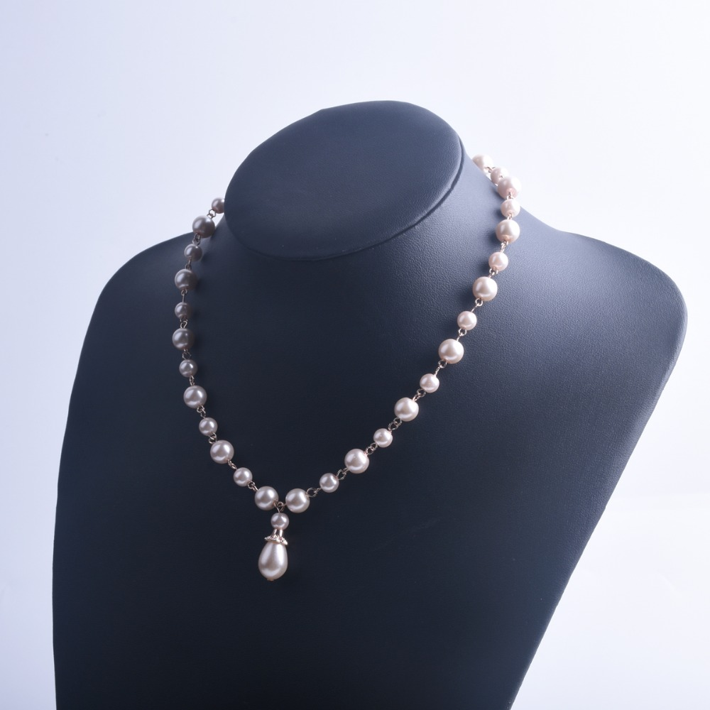 Handmade Curved Needle Pink Pearl Necklace, Drop Pearl Pendant ...