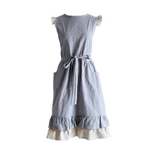 New Medieval Soft Washed Cotton Linen Apron Korean style Double Pockets Kitchen Cooking Clothes Gift for Women Chef Housewarming