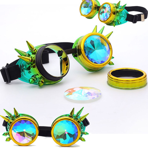 FLORATA Kaleidoscope Colorful Glasses Rave Festival Party EDM Sunglasses Diffracted Lens Steampunk Goggles Islamabad