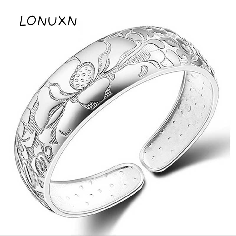 high quality 36g Large width bangle 999 Sterling Silver Lotus Charm Bracelet For Women Open Adjustable Simple Brand Love Jewelry good quality seagatest336607lw 36g ulra320