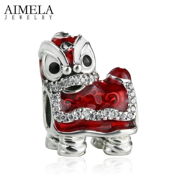 AIMELA 2017 Valentine's Day Dancing Lion Beads 925 Sterling Silver Multicolor Enamel Animals Charm Bead For Jewelry Making DIY