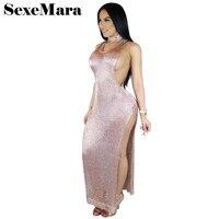 Sleeveless Split Knitting Halter Maxi Dress Elegant Perspective Metallic Summer Long Sexy Night Dresses Beach Tunic