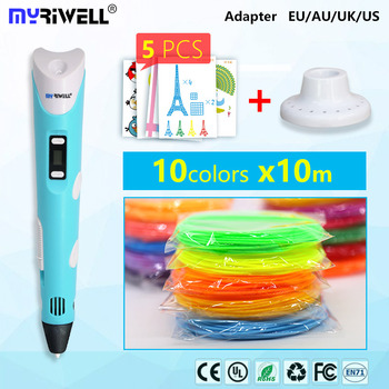 v2 myriwell 3d pen rp100b with free 1.75mm pla and 100m abs filament pens 3 d handle Smart Child birthday gift Toys