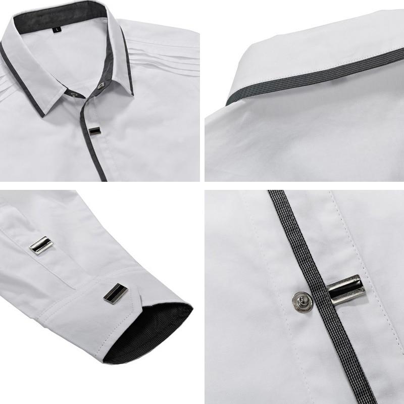 Image 5 - MIACAWOR Top Quality Shirt Men 100% Cotton Dress Shirts Spring Long Sleeve Casual Shirt Men Wedding White Shirts Men C013-in Dress Shirts from Men's Clothing