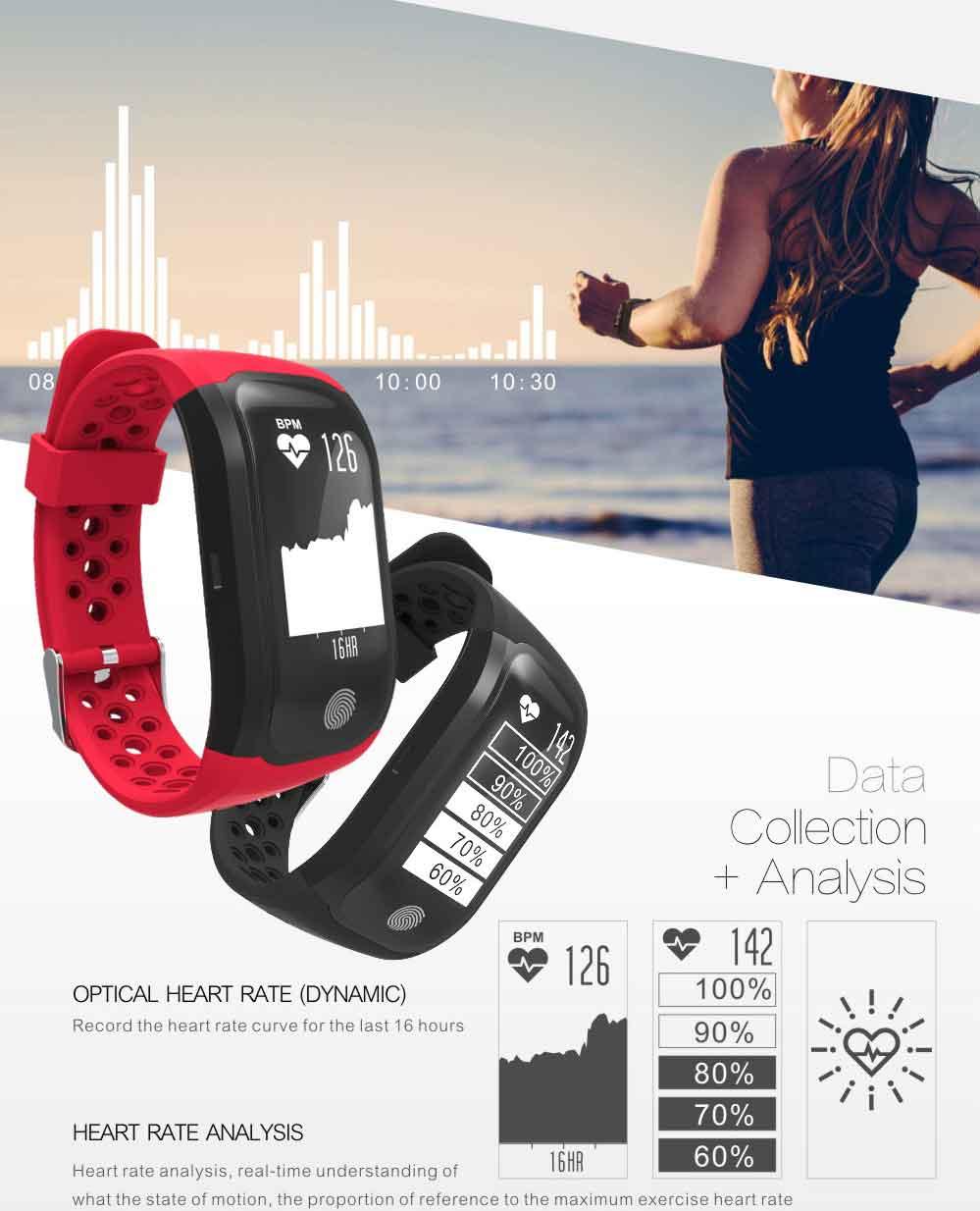 LEMDIOE Heart Rate Smart Wristband GPS Track Record Smart Band 2 Sleep Pedometer Bracelet Fitness Tracker Smart Watch Relogio 9