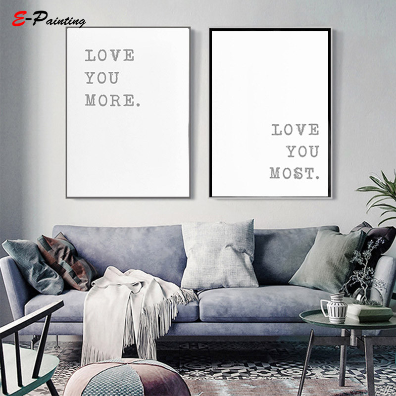 . US  4 12 29  OFF Wedding Gift Minimalist Print Modern Bedroom Wall Art Home  Decor Love Print Rustic Engagement Sign Canvas Painting in Painting