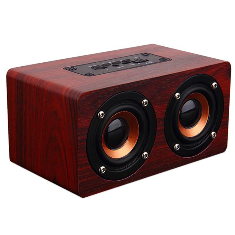 X5 Wooden Speaker Portable Bluetooth PC USB AUX Dual Speakers Stereo Bass Sound Box for Computer mp3 mp4 player Android IOS