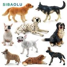 4a8e1481aec Dálmata Bulldog Bull Terrier perro husky Siberiano modelo Animal estatuilla  hogar Decoración de jardín de hadas