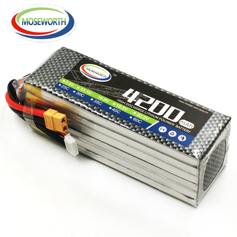 MOSEWORTH 6S RC Lipo battery 22.2V 4200mAh 40C-80C For RC airplane whirlybird drone boat car AKKU Li-Po batteria 6S купить