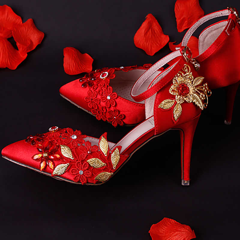 9a7891b51cf1 7cm High Heels Red Wedding Shoes Women Pumps Crystal Lace Flowers Gold  Leaves Stiletto Buckle Strap