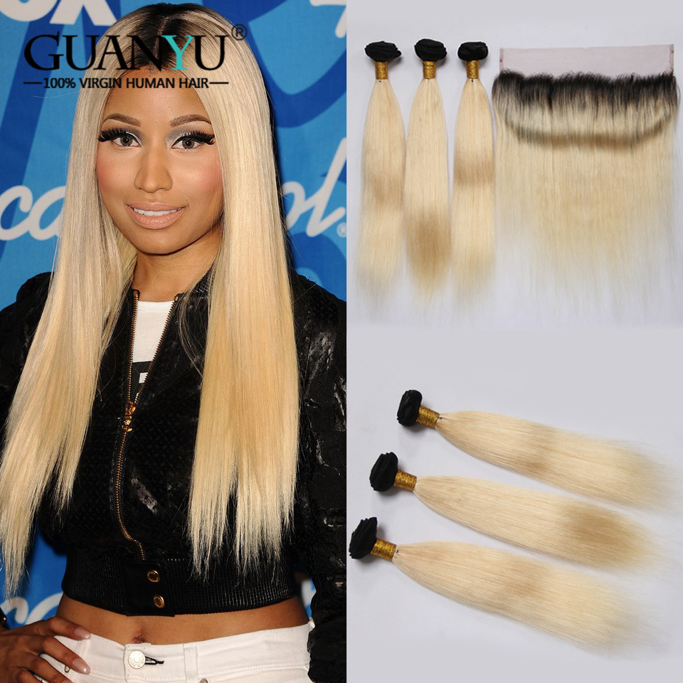 Guanyuhair Remy 1B/613 Ombre Brazilian Straight Hair Bundle With 13X4 Lace Frontal 2 Tone Black Blonde Human Hair With Dark Root