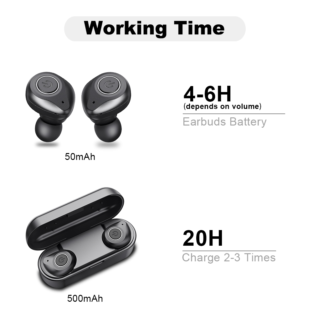 UP6 Wireless Headphones TWS Bluetooth 5 0 Earphone Stereo Headset IPX5 Waterproof Sport Earbuds with Dual microphone for Phone in Phone Earphones Headphones from Consumer Electronics