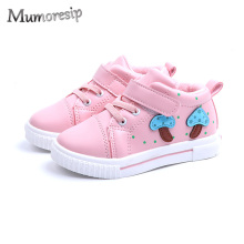 Mumoresip Autumn Winter Girls Shoes Cotton-padded White Pink Sneakers For Toddlers  Kids Sweet Children Skate Sneakers Mushroom 794871fa5e6f