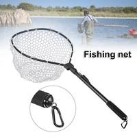 Fishing Net Fish Landing Net Foldable Collapsible Pole Handle Durable Rubber Material Mesh Fish Net EDF88