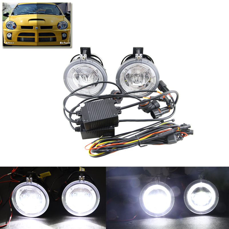Car Styling 2-in-1 Led Multifunction Fog Light Assembly For Dodge NEON 03-05 W/ Guide Daytime Running DRL Daylight Halo Rings 12v 100% waterproof oe replace daylight guide led fog drl daytime light for chrysler pacifica 05 07 dodge avenger caravan nitro