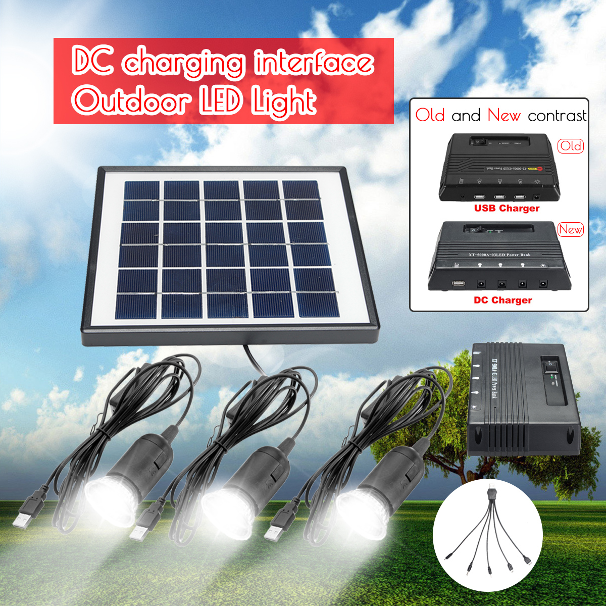 3pcs 1W Solar Lamp LED Garden Light Outdoor Lampe Solaire + 6V 4W Solar Panel + 5000mAh DC Power Bank For Outdoor Camping