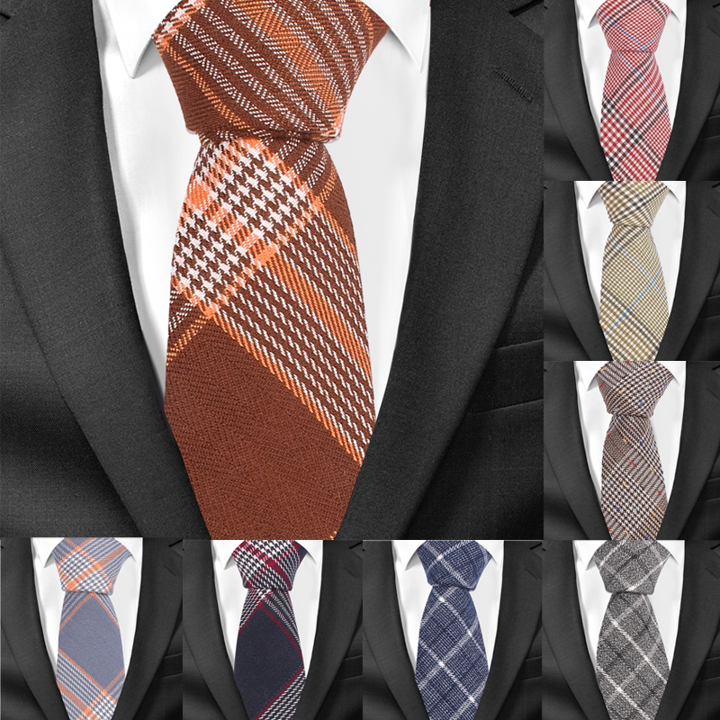 Casual Plaid Men Tie Classic Cotton Neckties For Men Formal Skinny Ties For Wedding Party 6cm Width Groom Neck Ties Gravatas