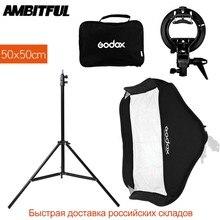 Godox 50x50 cm/20x20 cal Flash Speedlite Softbox + S typ uchwyt Bowens zestaw do montażu + 2 m lekki statyw do aparatu fotografia